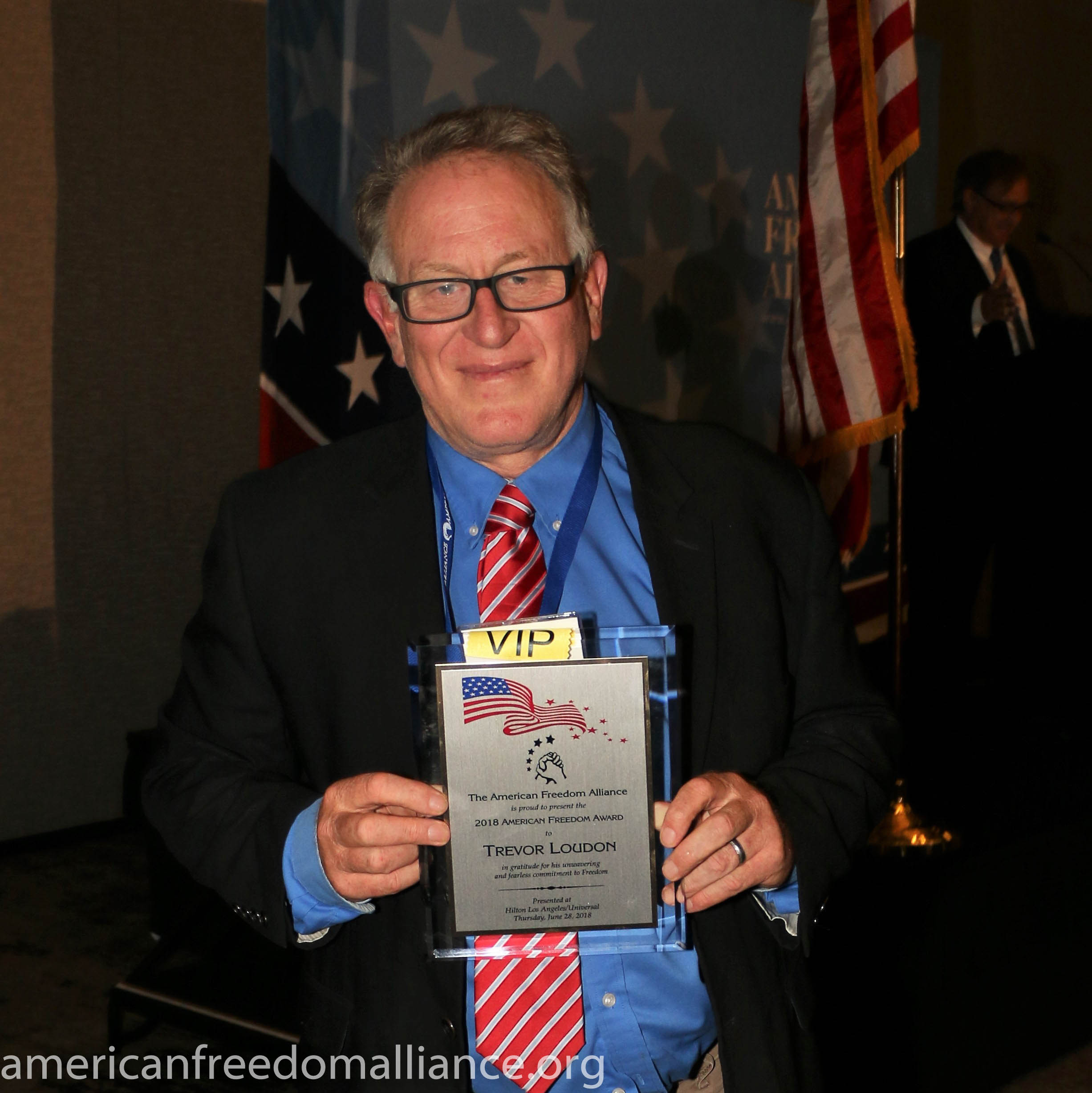 Trevor with American Freedom Award